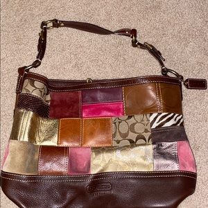 brown tones multicolored Coach purse